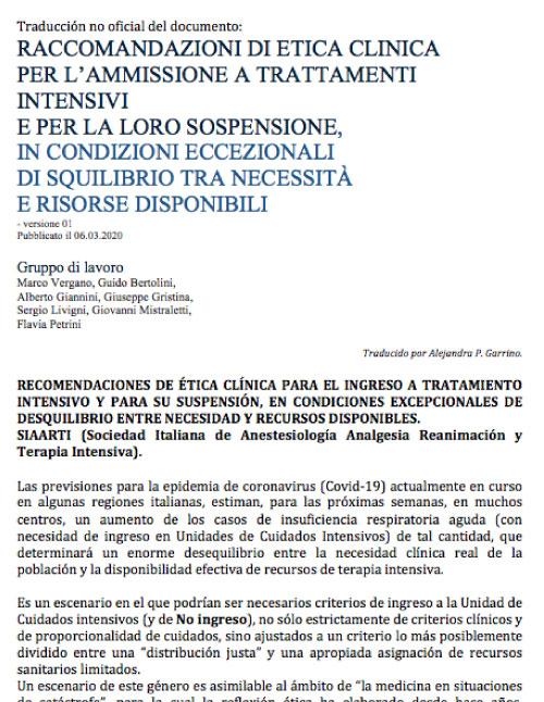 RACCOMANDAZIONI DI ETICA CLINICA PER L'AMMISSIONE A TRATTAMENTI INTENSIVI E PER LA LORO SOSPENSIONE