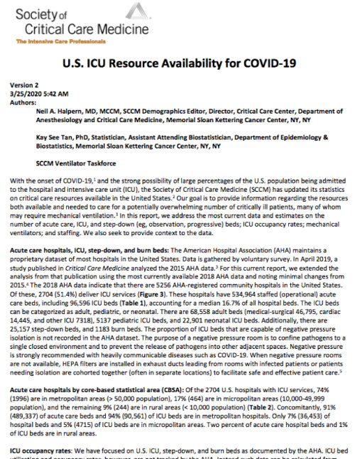 US ICU Resource Availability for COVID-19