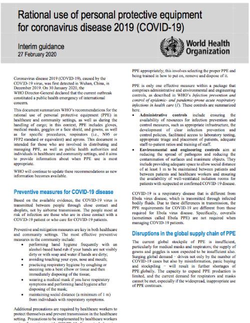 Rational use of personal protective equipment for coronavirus disease 2019