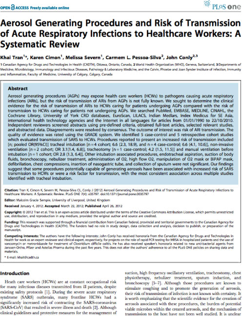 Aerosol Generating Procedures and Risk of Transmission of Acute Respiratory Infections to Healthcare Workers - A Systematic Review