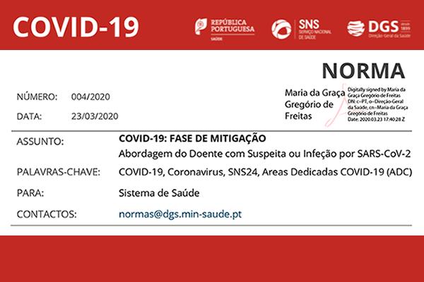 Covid-19: Norma 004/2020 da DGS