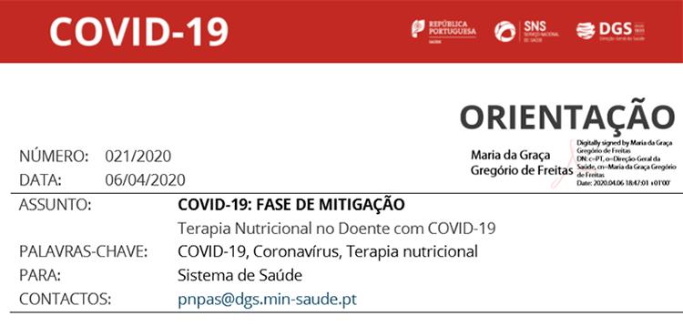 COVID-19 - Norma DGS 021/2020